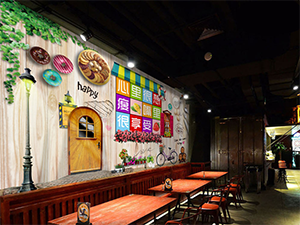 Tea Cafe Interior Wall Decoration Project