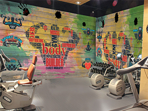 Gym Interior Wall Decoration Project